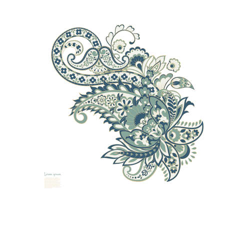 Paisley isolated pattern. Vintage illustration in batik style