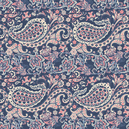 Paisley vector seamless pattern. Fantastic flower, leaves. Batik style painting. Vintage background