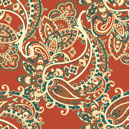 Paisley seamless pattern with flowers in indian style. Vettoriali