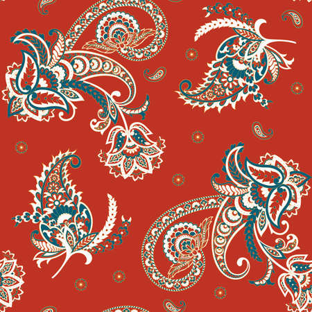 Paisley floral seamless vector pattern