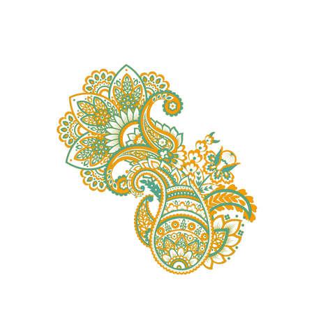 Paisley Vector Pattern. Isolated Asian Illustration