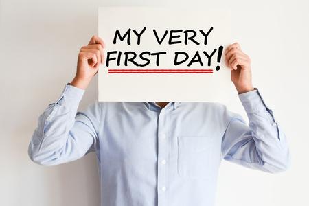 Eerste werkdag van mijn carrièreconcept Stockfoto