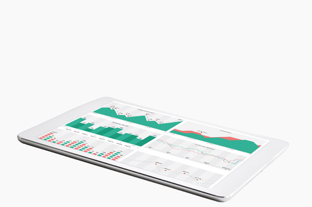 Digital tablet with financial reports on white background Standard-Bild