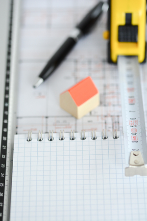 model house: Dream house planning with architecture plan, small model house, pen and ruler