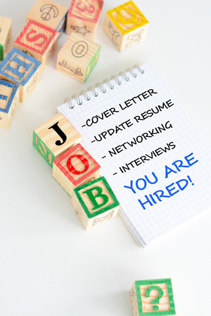 Job search with wooden letter cubes concept