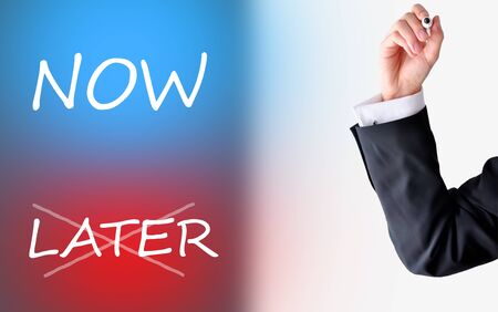 Now or later -Businessman choosing the time to make a move towards success