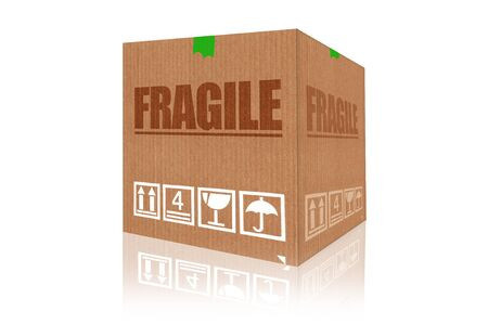 prestar atencion: Fragile cardboard box 3d rendering isolated on white background