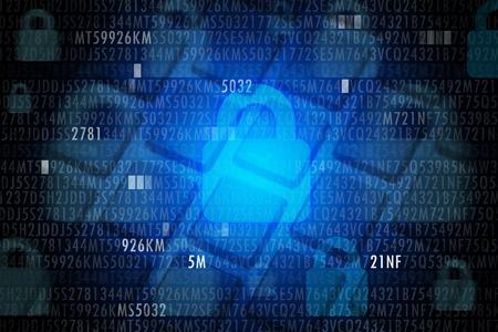 Concept de sécurité informatique avec code et casier sur fond bleu Banque d'images - 70212938