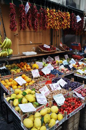 street market: Fresh lemons, oranges and other fruits and vegetables on a street market in Sorrento, Amalfi Coast -Italy