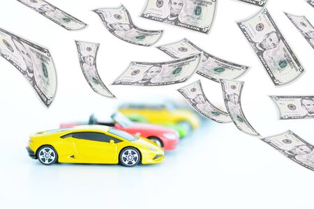 new car lots: Multiple color toy cars suggesting automotive market sales Editorial