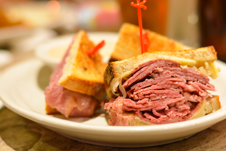 Corned beef pastrami sandwich close up