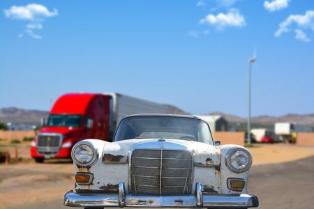 Old or vintage white car on the road Zdjęcie Seryjne - 73576746