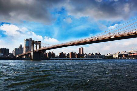 Observation deck overviewing Brooklyn Bridge New York City Manhattan