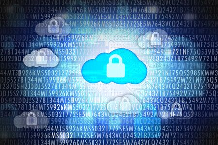 Cloud computing security or data protection concept Stock Photo