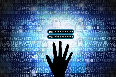 Hacker che ruba informazioni sul conto come il nome utente e il concetto di password Archivio Fotografico - 70757937