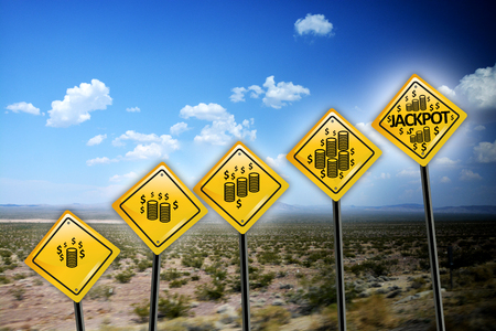 Jackpot yellow road signs on a deserted background