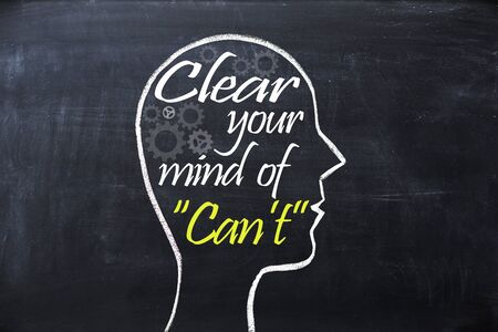 firmeza: Clear your mind of cant phrase inside human head shape drawn on chalkboard