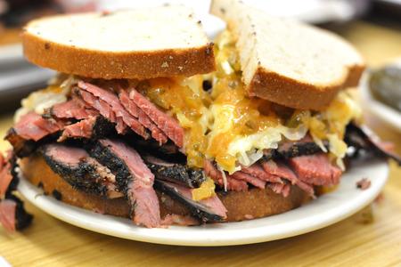 Corned beef pastrami sandwich close up