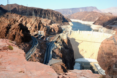 Hoover Dam aerial view from  a rock cliff