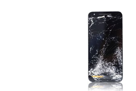 Broken glass or cracked smartphone display isolated on white background