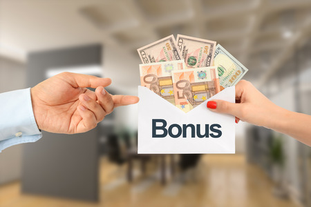 Bonus pay or extra payment to an efficient employee concept