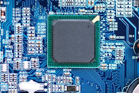 Computer motherboard with close-up of CPU processor Zdjęcie Seryjne