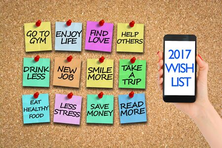 2017 wish list on corkboard with colorful paper pins