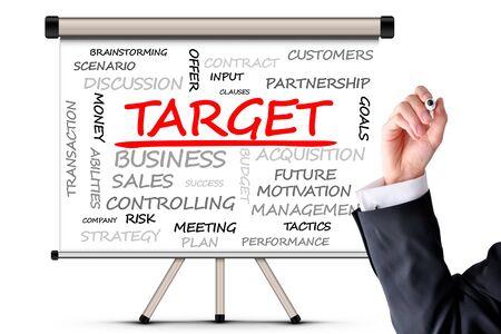 Target concept with word cloud on whiteboard Zdjęcie Seryjne