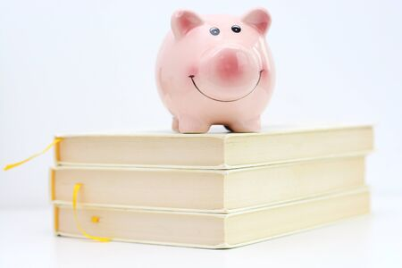 Piggy bank on top of pile of books suggesting saving for college concept