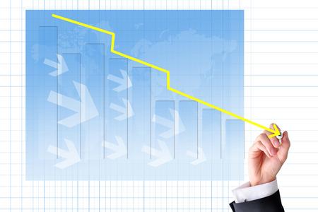 Decrease graph concept with trend line