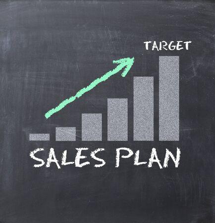 Sales plan concept on blackboard
