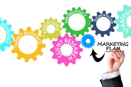 Marketing plan concept with spinning gears and businessman hand Zdjęcie Seryjne