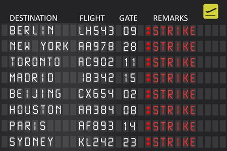 Airplane pilots strike displayed on airport panel