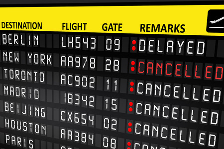 Flight delayed or cancelled display panel in airport Standard-Bild