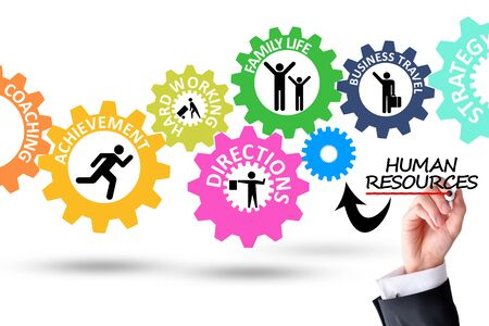 Human resources work as a team mechanism Stock Photo