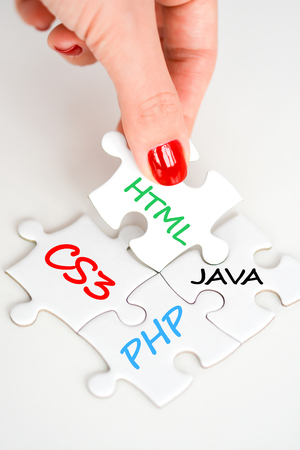 jigsaw puzzle with different WEB languages concept