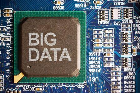 Big data concept with computer motherboard macro close up Zdjęcie Seryjne