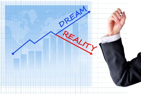 Business dream versus reality concept with bar graph and business man hand