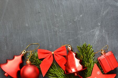 Christmas greeting background with tree decoration objects