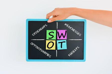 SWOT analysis concept with colorful sticky notes on blackboard Zdjęcie Seryjne