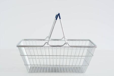 Metal Shopping basket isolated on white background Zdjęcie Seryjne