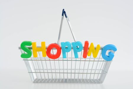 Metal Shopping basket with magnetic letters on it Zdjęcie Seryjne