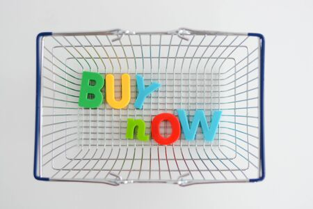 Buy now magnetic letters in a shopping basket