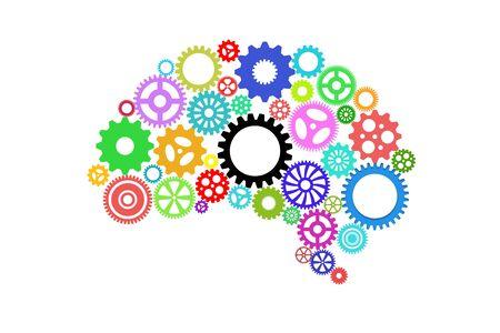 Artificial intelligence with human brain shape and gears Standard-Bild