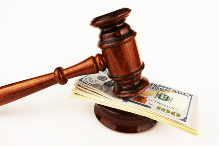 Judge or auctioneer gavel on cash money Zdjęcie Seryjne