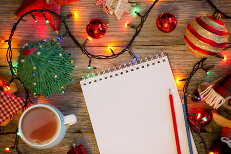 Christmas background with blank wish list for Santa