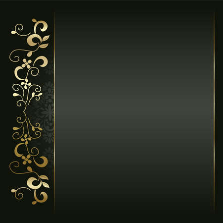 Artistic flower golden background for your text.  Vector
