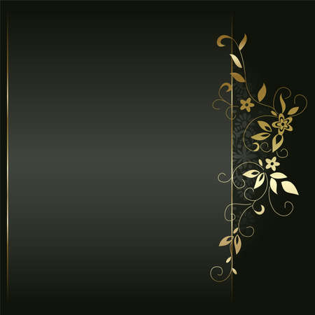 black metallic background: Artistic flower golden background for your text.