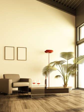 3d rendering of modern living room interior  Stock Photo