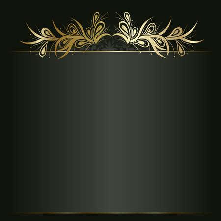 gold decorations: Fondo art�stico flor de oro para el texto. Vectores